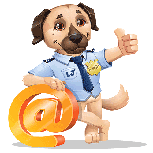 LJ the dog leaning on the @ symbol with his thumb up